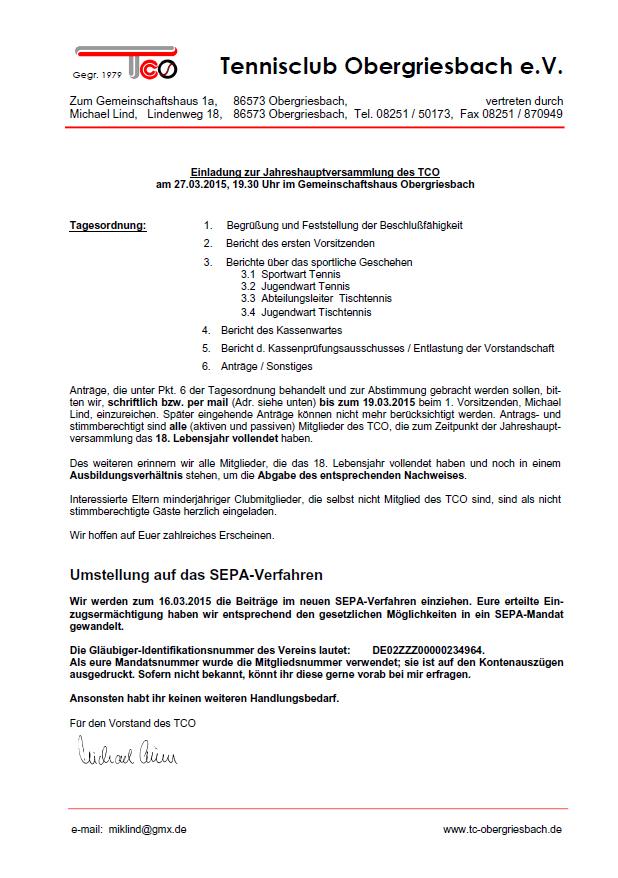 Einladung JHV 2015